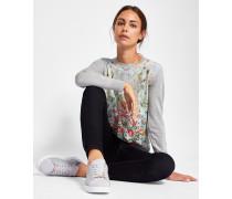 Feinstrick-Pullover mit Patchwork-Print