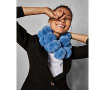 Schal aus Kunstpelz-Pompons