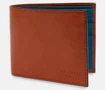 Aufklappbares Leder-Portemonnaie mit Kontrastfarben Auf der Innenseite