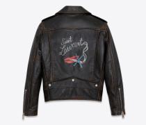 bouche saint laurent bikerjacke aus schwarzem leder