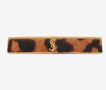 Schmales Animal Armband aus goldfarbenem Metall und Kalbsleder mit Leopardentupfen
