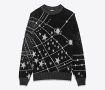 Sweatshirt mit schwarzem, weißem und silberfarbenem Konstellationsmotiv