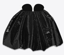 trägerloses minikleid aus schwarzem samt mit schwarzen pailletten
