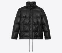Klassische Jacke aus schwarzem Leder mit Steppnähten