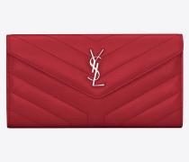 Großes LOULOU Portemonnaie aus rotglänzendem Lackleder mit Steppnähten