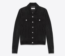 jeansjacke aus schwarzem velours
