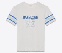 Babylone 55 T-Shirt aus gebrochen weißem Destroy-Jersey mit abgenutzter Optik.