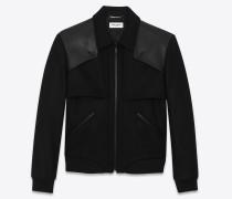 wool gabardine and leather varsity jacket