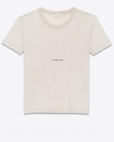 t-shirt aus hellrosa destroy-jersey mit saint laurent-quadrat