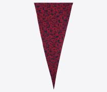 diamantförmiger schal aus rotem und schwarzem crêpe-de-chine mit mohnprint