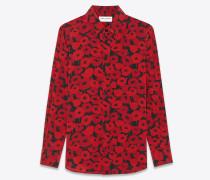 bluse aus schwarzem seidencrêpe mit paris-kragen und rotem mohnprint