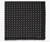 Schal aus schwarzem und elfenbeinfarbenem Wolltwill mit kleinem Bleiglasfenstermotiv