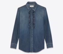 Western-Style-Hemd mit Jabot aus blauem Vintage-Denim mit Dirty-Medium-Waschung