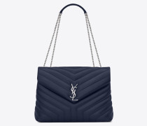 "medium loulou chain bag in navy blue ""y"" matelassé leather"