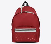 City Rucksack aus rotem und weißem Leder