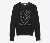 """""""handsome"""" pullover aus schwarzem und silberfarbenem mohair- und viskose-jacquard"""