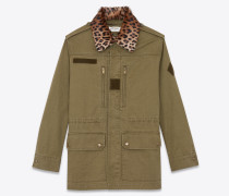 Military parka lined with leopard-print fur