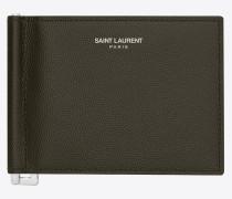 Saint Laurent Portemonnaie mit Geldscheinklammer aus strukturiertem Leder in Militärgrün