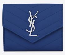 Kompaktes Portemonnaie aus blauem Leder