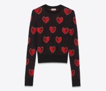 pullover aus mohair mit schwarzem, rotem und silbernem herz- und blitzjacquard
