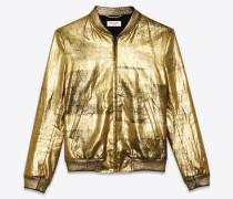 College-Jacke aus lackiertem Leinencanvas