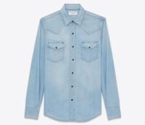 westernhemd aus ausgebleichtem hellblauem denim