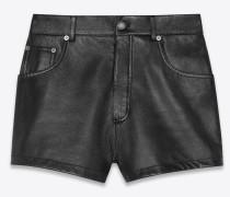 Hochgeschnittene Shorts aus genarbtem Lammleder