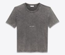t-shirt aus ausgebleichtem schwarzem jersey mit saint laurent-quadrat und getragener optik