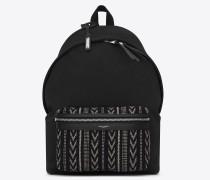 city rucksack aus schwarzem ikatcanvas