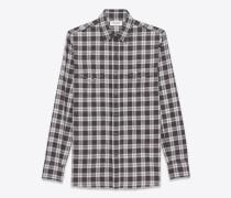westernhemd aus grauem baumwollplaid mit stone-waschung
