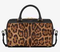 Baby duffle bag in ponyskin-look leather with a leopard print
