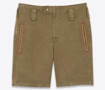 Vintage-Shorts aus Baumwolle und Leinengabardine mit bestickter Tresse