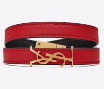 OPYUM doppeltes Wickelarmband aus rotem Leder und goldfarbenem Metall