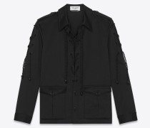 Multi-lacing safari jacket in cotton twill