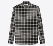 Hemd aus schwarz-weißer Baumwolle mit Yves-Kragen