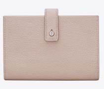 weiches, flaches, kompaktes sac de jour portemonnaie aus pinkem narbenleder