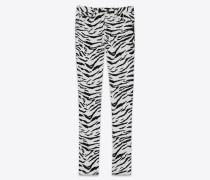 Skinny jeans in black and white zebra-print stretch denim