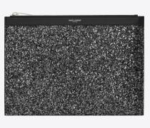 East/West Saint Laurent Paris Tablet-Etui aus metallic-schwarzem Glitzer