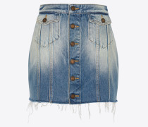 Buttoned skirt in seventies blue denim