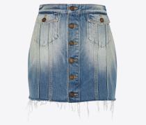 Jeans aus blauem Denim im 1970er-Stil mit Knöpfen