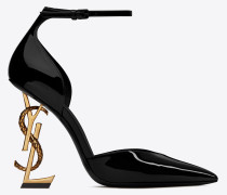 OPYUM d'Orsay pumps in patent leather with bronze snake heel