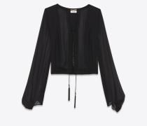geschnürte oversize-bluse aus schwarzem seidenchiffon
