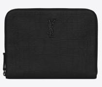 Monogramme Tablet-Etui aus schwarzem Leder mit Krokodillederprägung