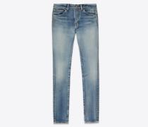 Skinny jeans in '80s sea blue stretch denim