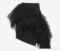 asymmetrischer minirock aus schwarzem gabardine mit meshrüschen mit herzen