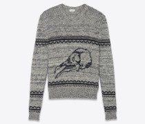 Pullover aus grauem und schwarzem Jacquardstrick mit Vogelschädel