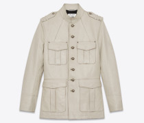 Safari jacket in vintage crinkled leather