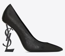 OPYUM Sandale aus Leder mit Krokodillederprägung und schwarzem Absatz