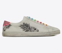 ANDY Sneaker aus Leder mit abgenutzter Optik und aufgemalten Ananas