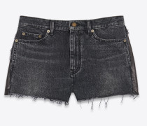 Baggy shorts in dirty medium black denim and python